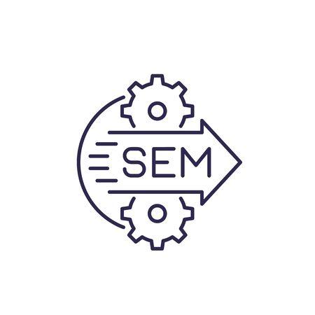 SEM icon, search engine marketing, line vector