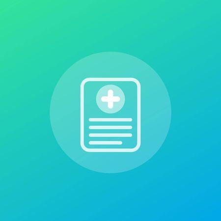 medical report, clinical record vector icon Ilustração