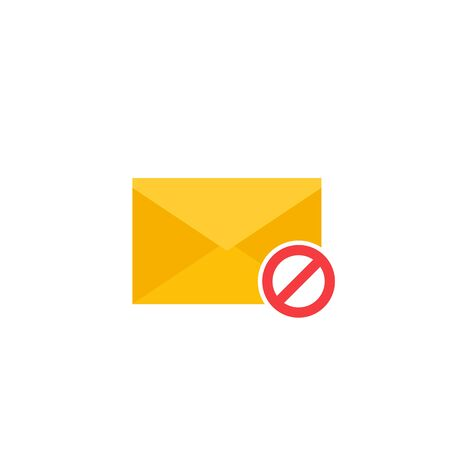 Blocked mail icon, flat style