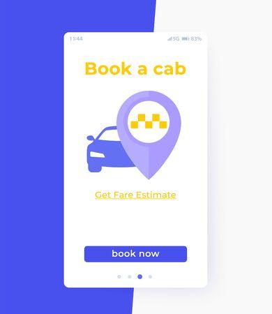 Book a cab app interface, vector ui Ilustração