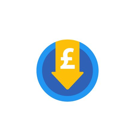 reduce costs icon with pound, flat Ilustração
