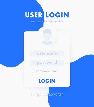 User Login window design, web page vector template
