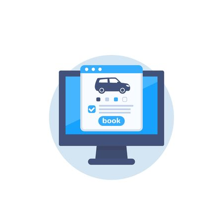 rent car online, vector icon