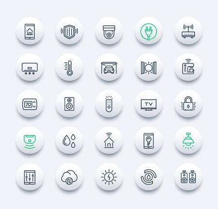 smart house and home automation icons, line vector set