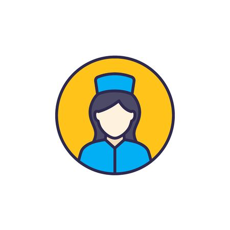 nurse icon with outline, vector