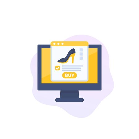 online shoe store, e-commerce and shopping vector icon