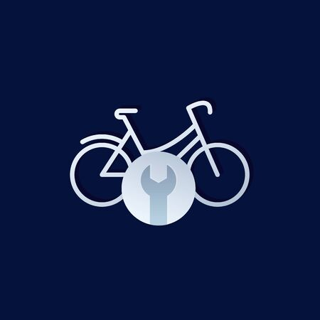 bicycle, bike repair service logo, vector