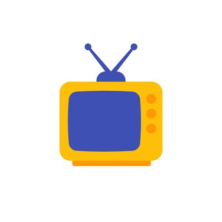 tv with antenna, old television icon, flat design