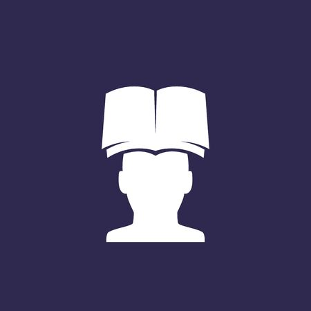 book and head vector icon