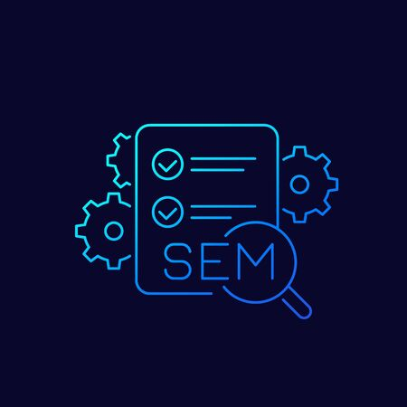 SEM icon, search engine marketing concept, linear