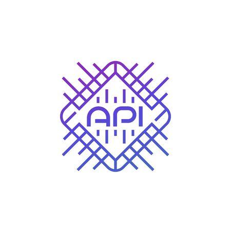 API technology and software development, vector icon Ilustração
