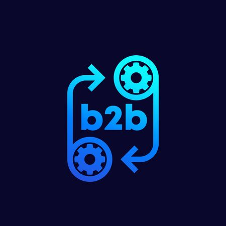 b2b icon with gears, vector