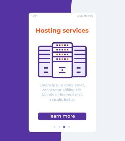 hosting services, mobile ui design, vector Ilustração