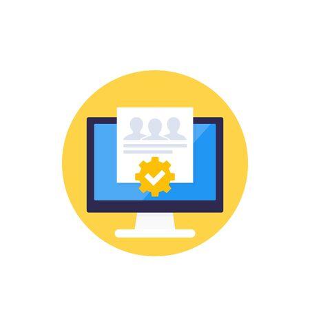 HR management, planning software icon