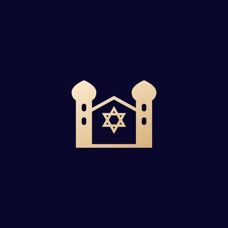 synagogue, judaism building, vector icon