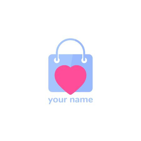 Shop logo with bag and heart