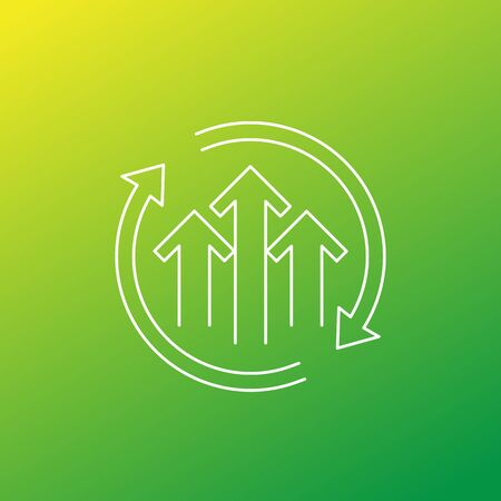 growth cycle icon, thin line design