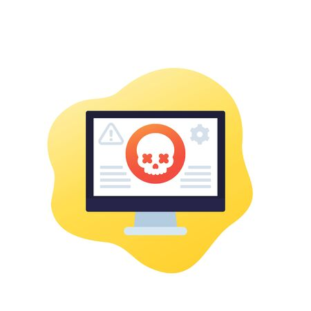 cyber attack alert icon, vector