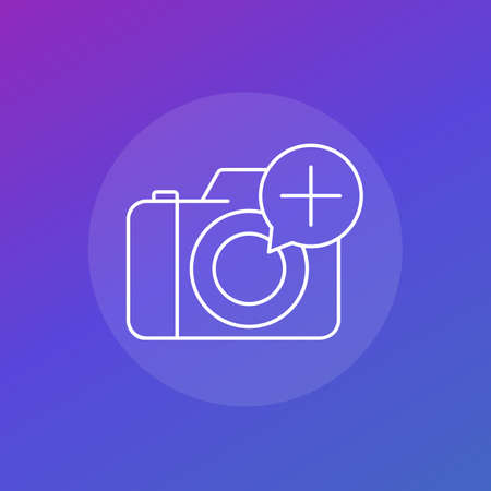 Add photo icon with camera, linear vector