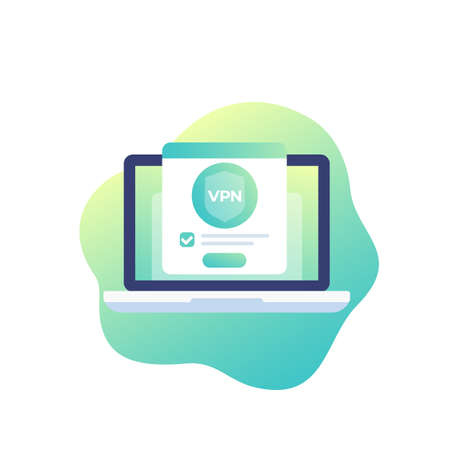 VPN, vector icon with laptop