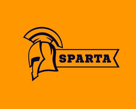 spartan helmet with ribbon, logo elements, vector Çizim
