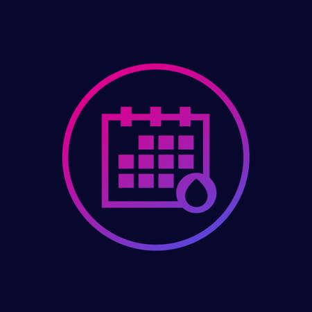 menstruation calendar, menstrual cycle vector icon