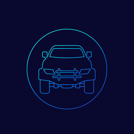 off-road 4x4 car, vector linear icon Illustration