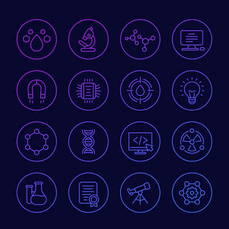 Science, technology and research icons, linear set