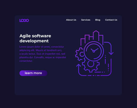 Agile software development, website vector template