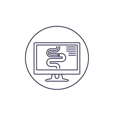 endoscopy line icon on white Ilustração