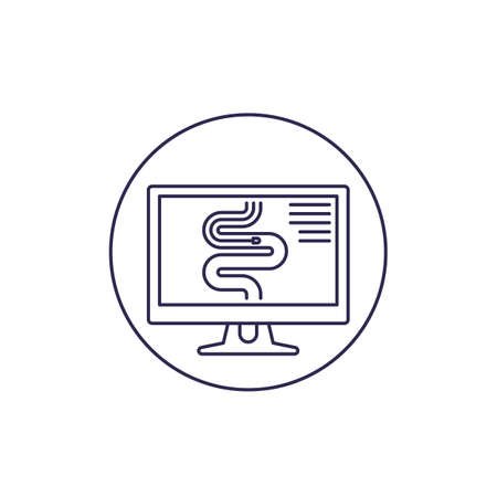 endoscopy line icon on white Illustration