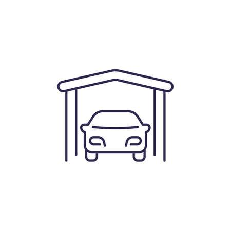 Portable garage line icon on white
