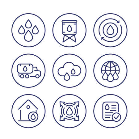 water supply line icons set