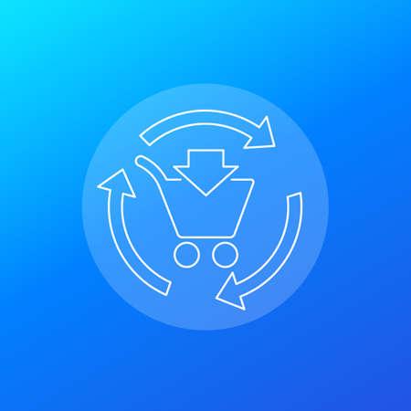 order processing, e-commerce icon, linear design