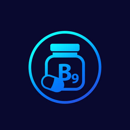 B9 vitamin, folate or folacin icon Иллюстрация