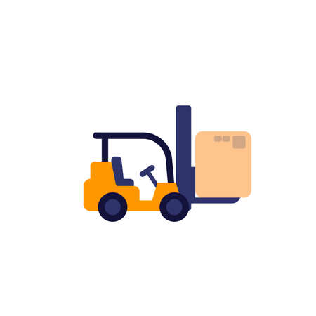 Forklift truck with box vector icon