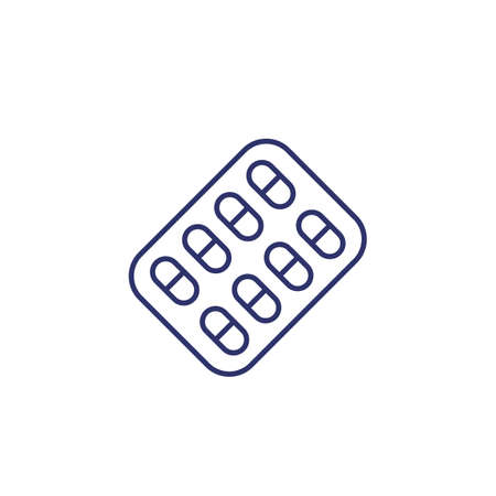 pills pack icon, line vector
