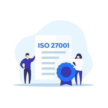 ISO 27001 certificate and people, vector Vecteurs
