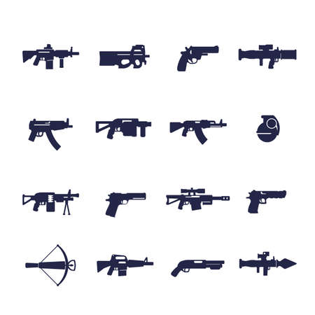 guns and weapons icons, rifles, pistols, submachine guns
