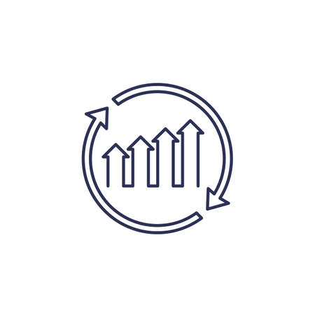continuous growth icon, line vector on white