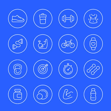 Fitness and gym thin line icons