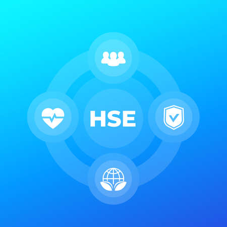 HSE vector concept with icons, health, safety and environment