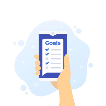 Goal setting app in smartphone, phone in hand, vector