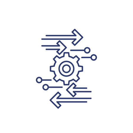 automation and optimization line icon on white