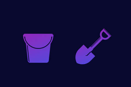 Shovel and bucket icons, vector