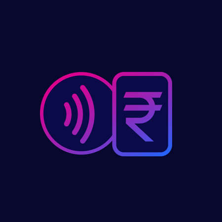 Contactless payments with card, tap to pay icon with indian rupee Çizim
