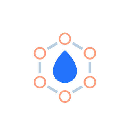 Drop with nano particles icon on white 向量圖像
