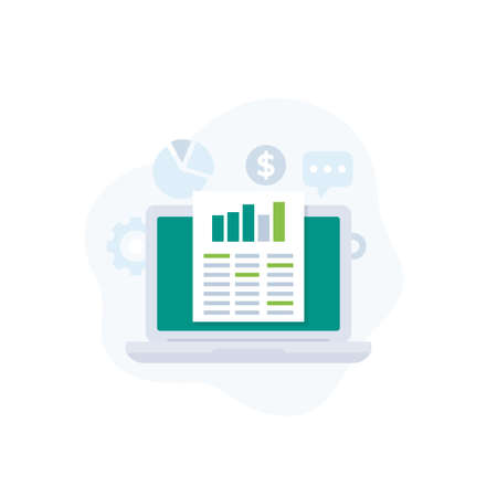 Data analytics, business intelligence and spreadsheet vector icon