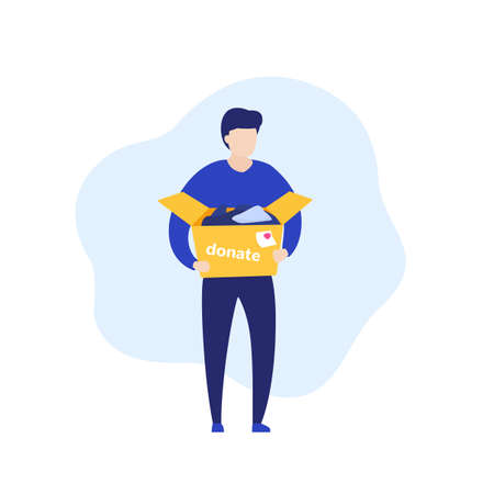 donation concept, man with box, vector