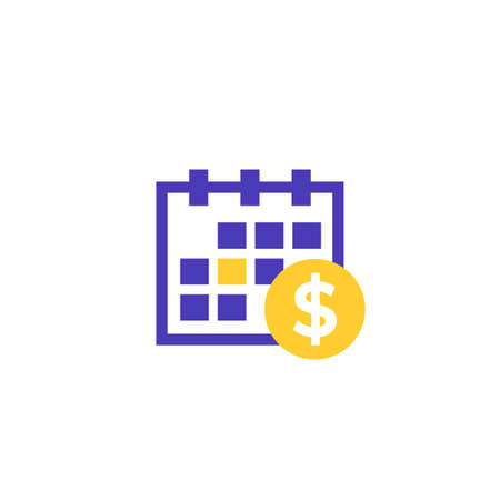 Financial calendar icon on white